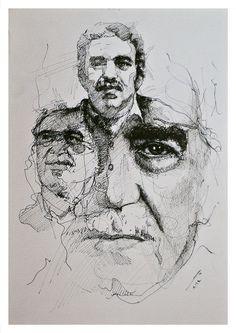 Gabriel Garcia Marquez, Easy Love Drawings, Art Drawings, Portrait Sketches, Portrait Art, Stippling Art, Art Alevel, Ap Studio Art, Identity Art