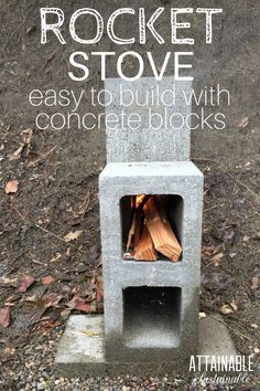 A concrete block rocket stove is easy to make. Consider this method when youre ready to build a rocket stove for outdoor cooking. This is a great way to cook in an emergency situation on the homestead, too. Survival Food, Homestead Survival, Camping Survival, Survival Prepping, Emergency Preparedness, Survival Skills, Off Grid Survival, Survival Shelter, Survival Quotes