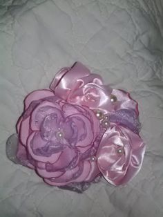 Pastel+pink+&+lavender+handmade+flower+satin+and+by+faeryfloral,+$15.00