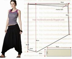 Free harem pants pattern - text is Portuguese - run it through Bing/babelfish to translate Sewing Pants, Sewing Clothes, Diy Clothes, Clothing Patterns, Dress Patterns, Sewing Patterns, Harem Pants Pattern, Thai Fisherman Pants, Aladdin Pants