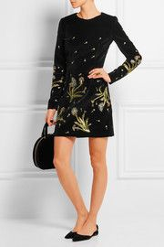 Belgravia cutout embellished cotton-velvet mini dress