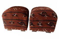 African Cotton Mud Cloth Ottomans - A Pair on Chairish.com