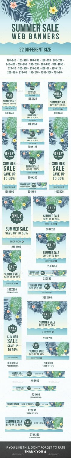 Summer Sale Web Banners Template PSD. Download here: http://graphicriver.net/item/summer-sale-web-banners/16602854?ref=ksioks