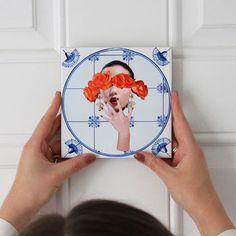 'rose Tinted Glasses' Ceramic Art Tile By Alanna Plekkenpol   notonthehighstreet.com Selling Design, Tile Art, Color Pop, Colour, Beautiful Hands, Ceramic Art, Unique Gifts, Presents, Wall Decor