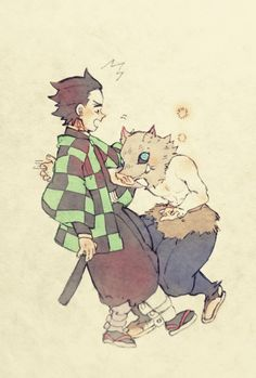 Tanjiro y inosuke Manga Art, Manga Anime, Peppa Pig, Character Art, Character Design, Waifu Material, Demon Hunter, Dragon Slayer, Slayer Anime