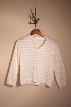 cream sheer knit and crochet cardigan  size s/m by mellowrabbit, $18.00