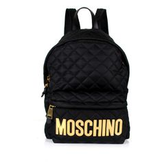 Moschino Moschino Nylon Backpack (€670) ❤ liked on Polyvore featuring bags, backpacks, zip bag, quilted backpack, initial bags, moschino backpack and nylon backpack
