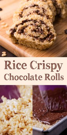 Rice crispy chocolate rolls are snacks that non-sweet-tooth will like. Rolled and cut like sushi. This would be one of your favorite snacks! Fudge Recipes, Best Dessert Recipes, Chocolate Recipes, Easy Desserts, Sweet Recipes, Delicious Desserts, Yummy Food, Bar Recipes, Amazing Recipes