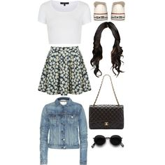 Flower skirt and white converse