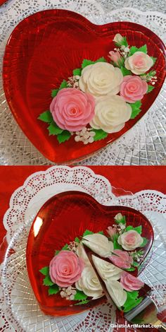 Learn how to make flowers in gelatin at Gela… - Gelee Ideen Gelatin Recipes, Jello Recipes, Dessert Recipes, Creative Cakes, Creative Food, Gelatina Jello, Birthday Cake Alternatives, 3d Jelly Cake, Jelly Desserts