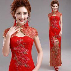 Red Evening Wedding Dresses Bridal Gown Sequins Phoenix Cheongsam Peony YH230H | eBay