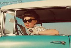 The glasses, the hair, the gloves, the car....vintage