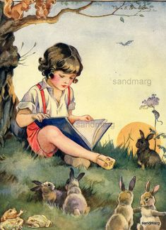 Vintage Storybook Illustration Nina K Brisley Boy Reading a Book Bunnies Squirrels ~ sandmarg ~   Vintage ~ Antiques - Patterns - Paper Ephemera - Maps