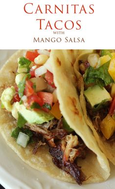 Slow-Cooker Carnitas Tacos with mango salsa - oh yum. Pork Recipes, Slow Cooker Recipes, Mexican Food Recipes, Crockpot Recipes, Dinner Recipes, Cooking Recipes, Healthy Recipes, Mexican Dishes, Healthy Cooking
