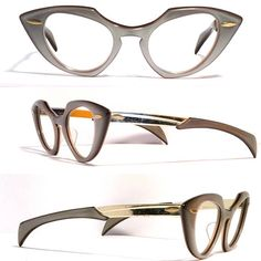 Vintage eyewear. Cat eye style. Made in USA by Shuron. Gloss