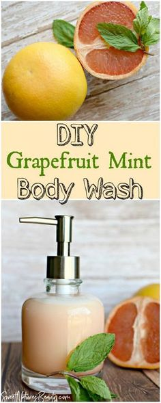This Grapefruit Mint Homemade Body Wash uses essential oils and castile soap for a natural recipe. The DIY Grapefruit Mint Body Wash is great for sensitive and dry skin. Try the Grapefruit Mint Homemade Body wash that smells like Spring and Summer! #diybodywash #homemadebodywash #naturalbodywash #naturalskincare
