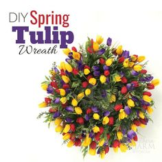 Easy spring tulip wreath perfect for your front door. This step by step guide uses lots of greenery and tulips on a grapevine wreath base. Learn to make this beautiful wreath and add spring color to your front porch! Spring Door Wreaths, Deco Mesh Wreaths, Easter Wreaths, Wreaths For Front Door, Front Doors, Summer Wreath, Front Porch, Saint Valentin Diy, Diy Wreath
