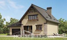 160-005-Л Проект двухэтажного дома мансардный этаж, гараж, бюджетный домик из блока