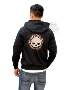 Harley-Davidson® | 199G-HA0K | Harley-Davidson® Mens Performance Willie G Skull Full Zip Black Long Sleeve Hoodie