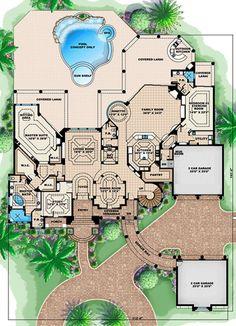 Dream House Plans, House Floor Plans, My Dream Home, Dream Big, The Plan, How To Plan, Mediterranean Design, Mediterranean Architecture, Monster House Plans