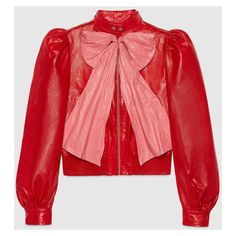 Gucci Leather Jacket With Bow (109.435.130 VND) ❤ liked on Polyvore featuring outerwear, jackets, red, summer jackets, red leather jacket, 80s leather jacket, gucci and 100 leather jacket