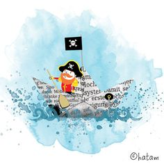 8 x 8 Pirate Illustration Print by HollyDraws on Etsy, $20.00