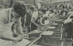 Haring schoonmaakwedstrijd op de visserijschool.