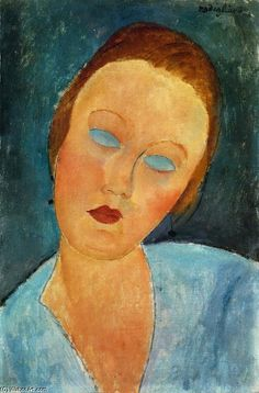 ! ...Amedeo Modigliani >> Portrait of Madame Survage  |  (Oil, artwork, reproduction, copy, painting).