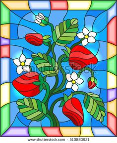 Illustration in stained glass style with flowers, berries and leaves of strawberry in a bright frame