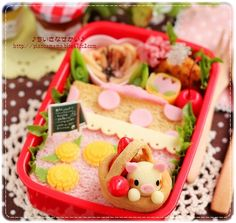 pig in the basket  spring bento