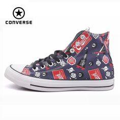 Original Converse all star shoes men sneakers Hand-painted graffiti canvas  shoes men high classic Skateboarding a7cad013cf