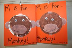 M is for Monkey paper plate craft - Cute!  @Brandy Moore  Made me think of Lane! :)