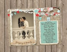 Rustic Red White and Turquoise Wedding Invitation over Burlap with Mason Jars, Flowers and String of Lights - printable 5x7