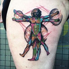 Vitruvian Man Tattoo By Little Andy - http://tattooideas22.com/vitruvian-man-tattoo-little-andy/