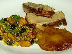 picanha suína com abacaxi caramelado e farofa