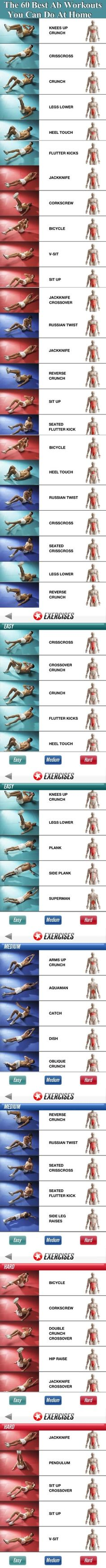 The 60 Best Ab Workouts You Can Do From Home abs fitness exercise home exercise…