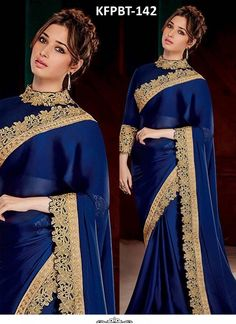 Tamanna Bhatia Blue Satin Silk Heavy Replica Saree