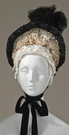 1880 Lady's Bonnet  Culture: French  Medium: cotton, feather, silk, velvet, sequins, metal