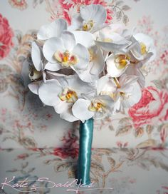 Orchid Wedding Bouquet  White Orchid and Tiffany by KateSaidYes, $110.00