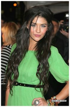 Very long, dark hair. Really loving this look on Jessica Szohr.