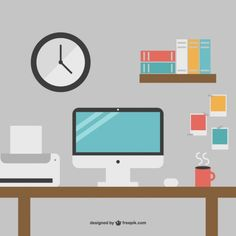 Minimalist Office Desk Graphics Free Vector