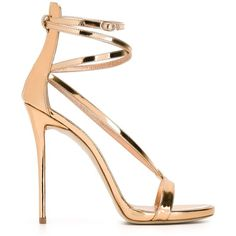 Giuseppe Zanotti Design Strappy Sandals (16.885 CZK) ❤ liked on Polyvore featuring shoes, sandals, heels, metallic, leather strappy sandals, ankle strap stilettos, strap heel sandals, heeled sandals and metallic sandals