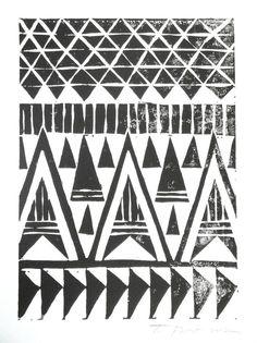 SALE Aztec Tribal Triangles Linocut Art Print / 5 x 7 Home Decor / Black, Hunter Green