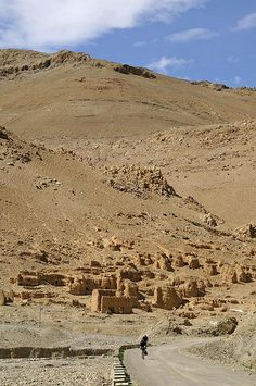 An ancient ruined caravanserai, which was once a stopover on the Silk Route, in Tibet, China by Niall Corbet