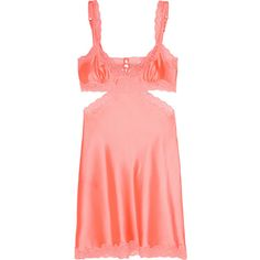 Stella McCartney Clara Whispering lace-trimmed stretch-silk chemise ($150) ❤ liked on Polyvore featuring intimates, chemises, orange, stella mccartney chemise, stella mccartney and lace trim chemise