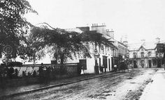 Pic of Lower Main Street, Ballyclare in The railings surround Ollar Lodge and the Private School was held in this building, entrance was made by an entry beside the shop where the group of people can be seen. Old Images, Old Photos, Image N, Historical Images, Local History, Private School, Railings, Far Away, Northern Ireland