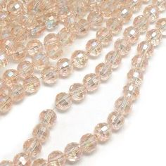 No of Pieces 70 Main Colour PeachMaterial Czech Crystal GlassSize 6mmShape Faceted Round BeadsHole Size