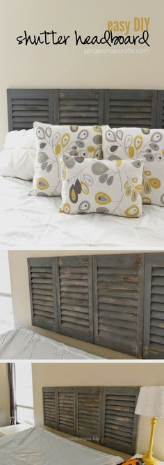 Check out how to make an easy DIY headboard from old shutters Industry Standard … http://www.housedesigns.top/2017/07/29/check-out-how-to-make-an-easy-diy-headboard-from-old-shutters-industry-standard/