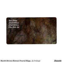 Black & Brown Abstract Fractal Shipping Label