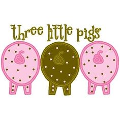 Three Little Pigs Applique - 3 Sizes! | Words and Phrases | Machine Embroidery Designs | SWAKembroidery.com Band to Bow